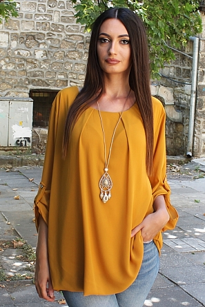 Шифонена дамска блуза с подарък стилен аксесоар 8807