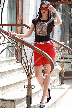 Памучен едноцветен къс панталон с колан 8751