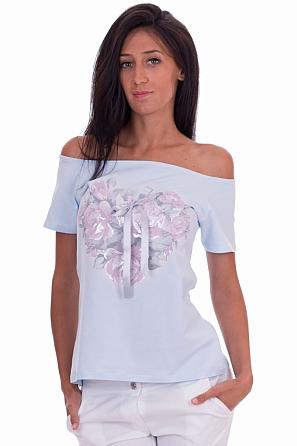 Памучна дамска блуза с щампа рози и панделка