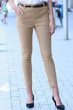 Стилен дамски панталон ситен рипс с колан 8548