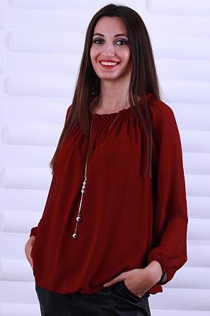 Елегантна дамска блуза с подарък аксесоар 8624