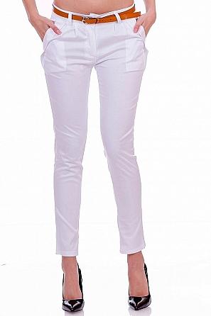Памучен eдноцветен дамски панталон с колан 7850