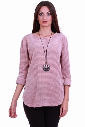Дамска блуза от кадифена материя с аксесоар 8168