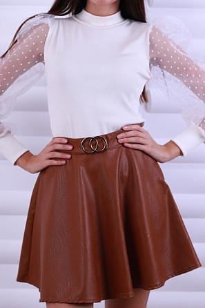 Стилна кожена пола с катарама 8628