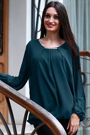 Стилна шифонена блуза с бижу и солей ръкави 8820