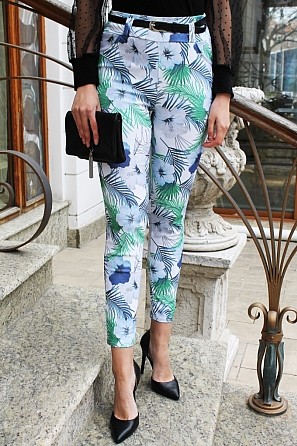 Еластичен дамски панталон на цветя 9014