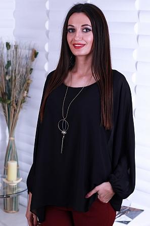 Свободна едноцветна дамска блуза с прилеп ръкав 8720