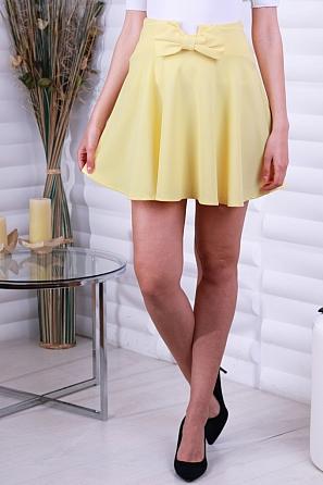 Едноцветна дамска пола с панделка 8752