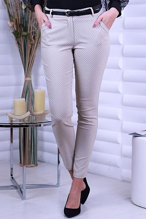 Еластичен дамски панталон на ситни фигури с колан 8703