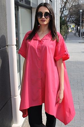 Памучна асиметрична дамска риза с къси ръкави 9041