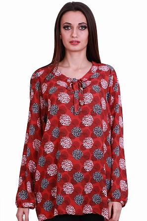 Красива дамска блуза с точки и панделка на деколтето 8318