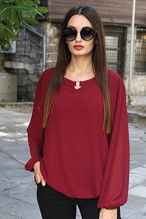 Шифонена дамска блуза с перлен акцент на деколтето 8821