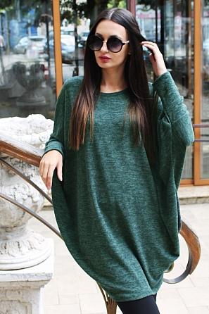 Едноцветна дамска блуза/туника с прилеп ръкав 8822