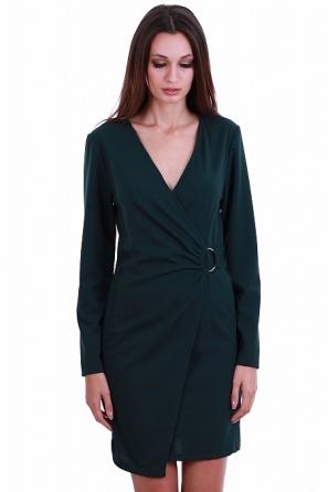 Интересна дамска рокля с тока и V-образно деколте 8224