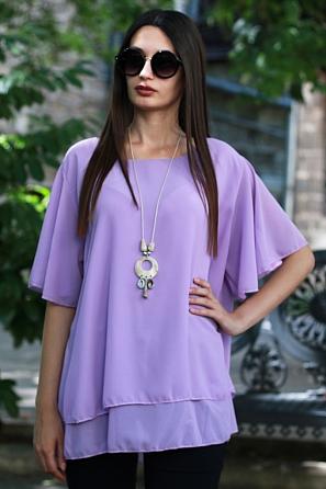 Елегантна едноцветна дамска блуза с подарък аксесоар 8767