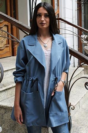 Стилно едноцветно дамско яке с джобове 9181