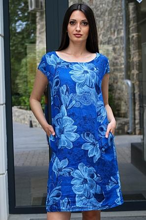Ленена свободна дамска рокля на големи цветя 9090