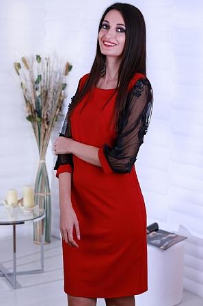 Елегантна дамска рокля с ефектни дантелени 3D ръкави 8562
