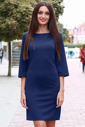 Стилна едноцветна дамска рокля с 7/8 ръкави 8812