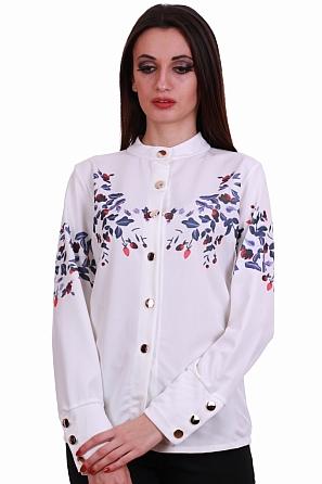 Стилна дамска риза с цветни мотиви и красиви копчета 8321