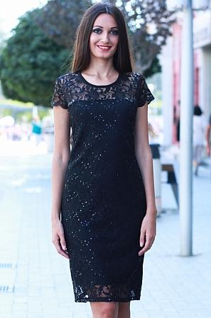 Елегантна дамска рокля с дантела и пайети 8535