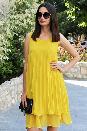 Стилна едноцветна шифонена дамска рокля солей 9097