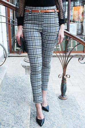 Дамски панталон едро каре с подарък колан 90022