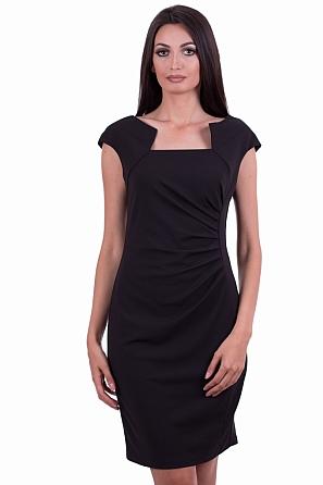 Луксозна дамска рокля с набор в талията 8527