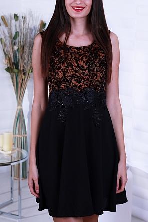 Разкроена дамска рокля с красива дантела на талията 8242