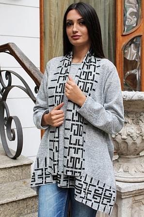 Асиметрична дамска блуза с подарък шалче 9190