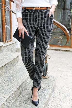 Стилен дамски панталон едро каре 88267