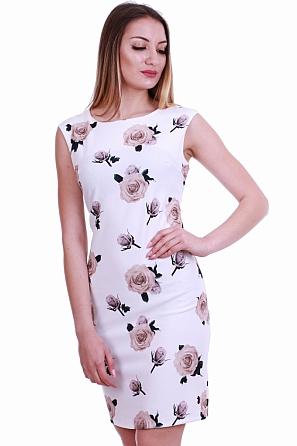 Стилна дамска рокля с малки флорални мотиви 8366