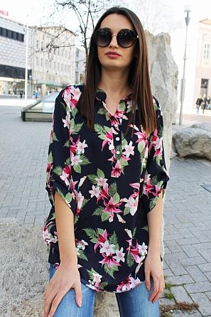 Красива дамска блуза на цветя с къси ръкави 9039
