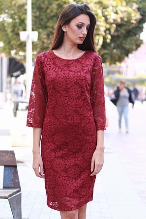 Стилна дантелена дамска рокля 8532