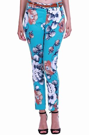 Красив летен дамски панталон на цветни мотиви 8433