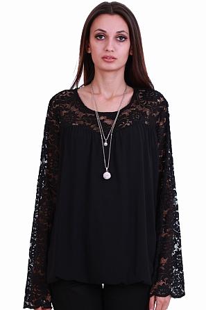 Елегантна дамска блуза с дантела и подарък аксесоар 8232