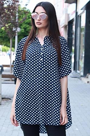Ежедневна блуза на големи точки с къс ръкав 90338