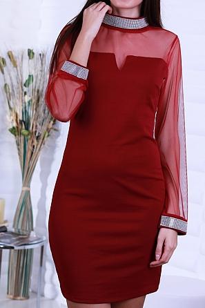 Луксозна дамска рокля с ефектно деколте и кристали 8601