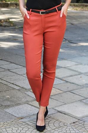 Еластичен едноцветен дамски панталон с колан 9010