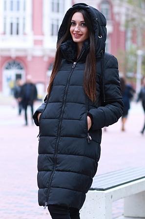 Дамско зимно яке с пухена яка и качулка 8587