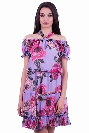 Шифонена флорална дамска рокля с паднали рамена 7931