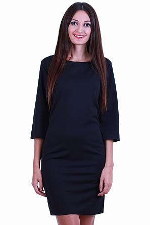 Стилна едноцветна дамска рокля с 7/8 ръкави 8526