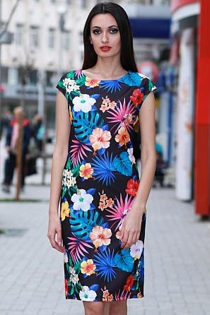 Елегантна дамска рокля с големи цветни мотиви 8357