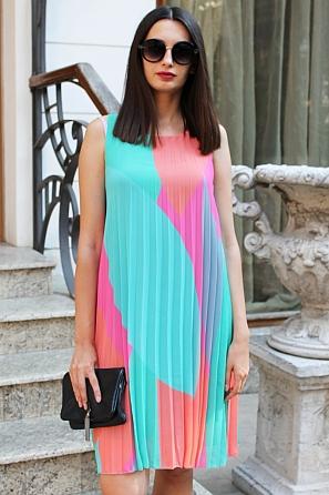 Шифонена дамска рокля солей няколко цвята 90684