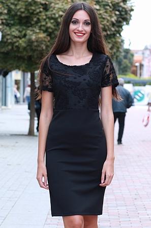 Стилна дамска рокля с дантелена горна част 8561