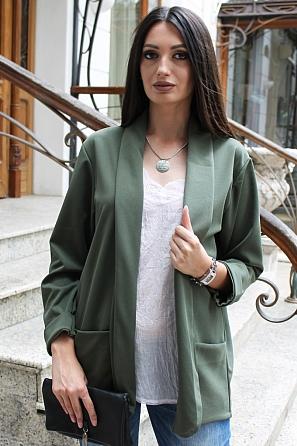 Едноцветно дамско сако с джобове 9182