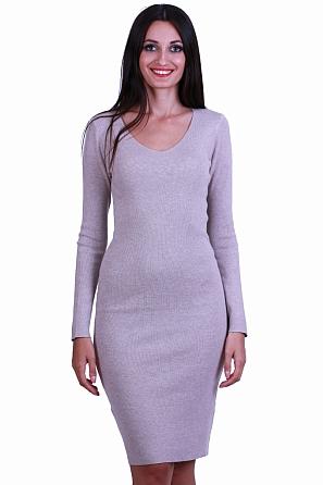 Дамска рокля фино плетиво с V-образно деколте 8517