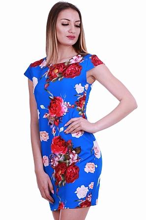 Красива дамска рокля с флорални мотиви и къс ръкав 8364