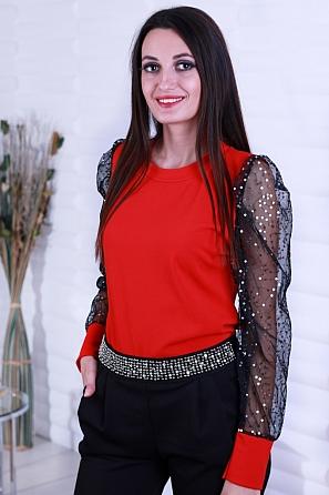 Стилна дамска блуза с дантелени ръкави и пайети 8631