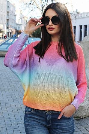 Ефектна дамска блуза в преливащи цветове 9032